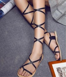 Wholesale Hot selling gladiator sandals for women new designer Genuine leather flat knee High cross lace up Strappy Summer Boot Gladiator Sandals