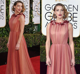 2017 Golden Globe Awards Sexy Jewel Flowers Neck A-Line Floor Length Tulle Celebrity Red Carpet Formal Dresses Evening Wear