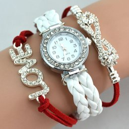 Wholesale Infinity Bracelet Watch Fashion Bracelet Watches Diamonds Love Leather Wrist Watches Women Quartz Watches Round Case Drop