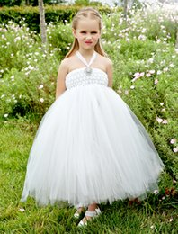Flower Girl Dress For Weddings Beaded Ruffle Halter Ball Gown White Dresses Flower Sleeveless Tulle Tea-Length Flower Girl