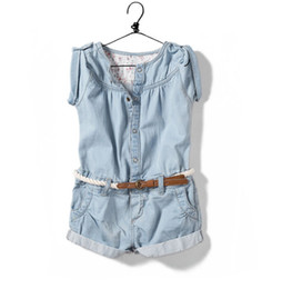 Wholesale 2015 new arrival summer baby Kids Girls pants shorts denim Jumpsuit skirt girl children conjoined pants Denim jumpsuits romper onesies