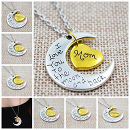 Wholesale Mom Gift Charm Family Personal I LOVE YOU TO THE MOON AND BACK Moon Pendant Necklace