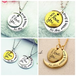 3Styles I Love You To The Moon and Back Necklace round two pieces pendants moon necklace Gift Chain Lobster Clasp Pendant Necklaces