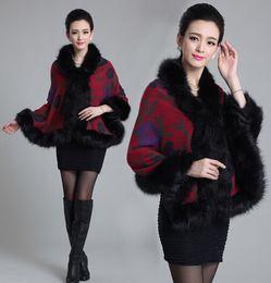2014 winter fashion Artificial fox wool cashmere Printed fur coat cloak shawls for women dust coat ,1414