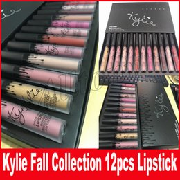 Kylie fall collection Lipstick 12pcs set Matte Liquid Lipgloss Lips Makeup with black box lip gloss kit