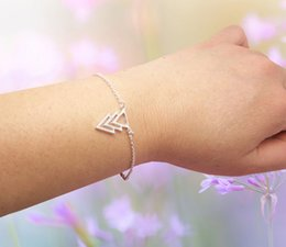 30PCS- B004 Gold Silver Three Triple 3 Triangles Bracelet Pyramid TriForce Bracelet Simple Geometric Chevron V Bracelets