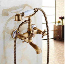 Wholesale New Antique Brass Wall Mount Tub Faucet Flower Ceramic Base W Ceramic Hand Unit