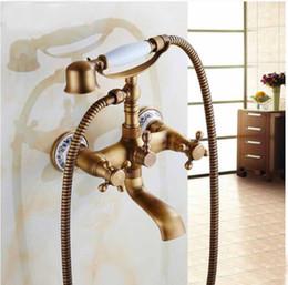 New Antique Brass Wall Mount Tub Faucet Flower Ceramic Base W  Ceramic Hand Unit