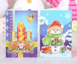 Wholesale Christmas greeting cards Fashion Europe flash powder two fold three dimensional Christmas gifts Message dimensional cards section Pa