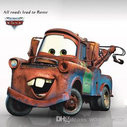 Wholesale Cartoon Cars Mater Giant Wall Stickers for Boys Kids All Roads Leads to Rome Movie Decorative Wall Decals Comic Home Decoration