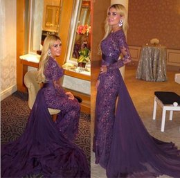 Wholesale Panel Train Evening Dresses Gorgeous Lace Beading Formal Long Prom Gowns With Long Sleeves Sheath Body Chiffon Party Gowns