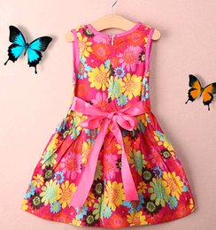 Wholesale Toddler Kids Girls Summer Princess dress Floral Lace Pierced Party Dresses UK T