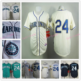 Wholesale 2015 Ken Griffey Jr Jersey Cool Base Seattle Mariners Cream Blue White Green Turn Back retro