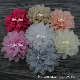 Accessoires pour cheveux pour bébés en Ligne-Vente en gros sans frais d'expédition Trial order soft chic chiffon flower head, Baby girl hair accessories, flat back, 21pcs mix color