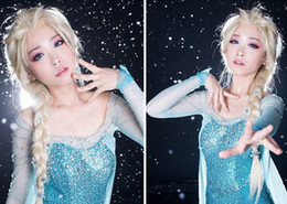 Retail Frozen wigs most popular cartoon girl Hair Wigs adult Cosplay Wig Elsa princess white fluffy long hair single plait ponytail