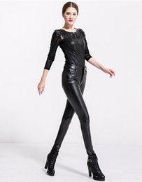 Women fall and winter in Europe and the new quality goods tight fashion show tall waist zipper foot render leather pants. S - 3xl