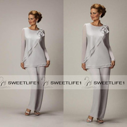 2019 Long Sleeves Silver Mother's Pants Suit For Mother of The Bride Groom Ladies Women Cheap Custom Made Beaded Chiffon Party Evening Wear