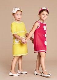 Wholesale 2016 Spring Girl Dress Designer Kids Clothing Fashion Daisies Kids Dresses for Girls Clothing Sleeveless Girls Flower Tutu Dress for Party