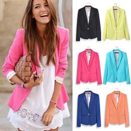 Wholesale-Jacket Coat Women 2015 Candy Coat Jacket One Button Outerwear Coat Jacket Tops Blaser Basic Jackets Suit Feminino