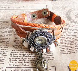 Wholesale New arrival Fashion vintage retro beaded braided rope bracelet wrap quartz cow leather wrist watch women