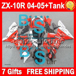 Wholesale 7gifts Tank NEW For NEW Red white KAWASAKI NINJA ZX R Q104 ZX R R red white ZX10R Fairings Kits