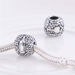 Wholesale LW348 Factory Sales Women Jewelry Sterling Silver Screw Thread Wine Glass Print Charms Vintage Beads Fit for European Pandora Bracelets