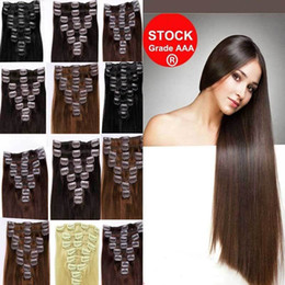 "wholesale-7A 14""- 26"",8pcs Unprocessed brazilian remy Hair straight clip-in hair remy human hair extensions, 12 colors for choose ,100g set,"
