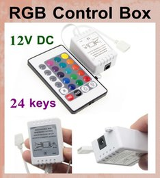 24 Button key Wireless RGB Controller brightness adjustable with IR Remote Box DC12v Dimmer for LED RGB strip vs waterproof remote box DT001