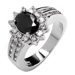 Polish black sapphire lady's 10KT white Gold Filled Ring sz5 6 7 8 9 10 11 12