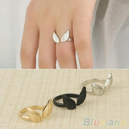 Womens Ladies Stylish Angel Wing Shape Cuff Opening Ring 1P6T