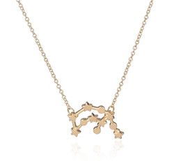 Wholesale 10pc Gold and Silver Aquarius Zodiac Sign Astrology Necklace for Birthday XL165
