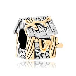 10 pcs per lot Metal Slide Bead Wooden Cabin House Lucky European Charm Spacer Fit Pandora Bracelet