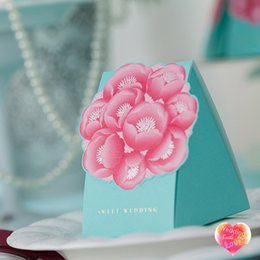 New Tiffane Blue Wedding Favor Boxes Big Red Flower Print WISHMADE CB011 Creative Candy Package Chinese Party Gift Boxes