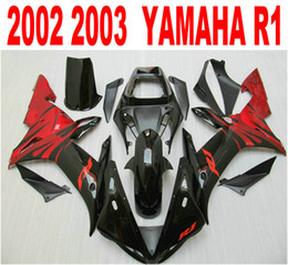 Best quality injection fairings for YAMAHA R1 2002 2003 red black fairing kit 02 03 yzf r1 full set body parts LQ4