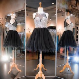 Black Sheer Beading Homecoming Dresses 2015 Fall Jewel A line Crystal Short Party Dress Custom made