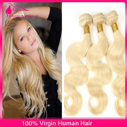 New Arrival Light Blonde Virgin Hair Weaves 3 pcs lot Virgin Human Hair Bundles Body Wave Color #613 Blonde Hair Extensions