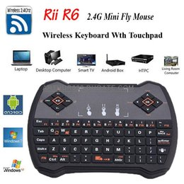 Wholesale Mini G Rii R6 Wireless Game Keyboard Fly Air Mouse Remote Control with Touchpad for PC Pad Google Andriod TV Box Xbox360 PS3 HTPC IPTV