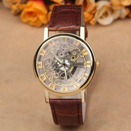 Wholesale New Famous Brand Luxury Fashion Casual Stainless Steel Men Skeleton Watch Women Dress Wristwatch Leather Quartz girl boy watch