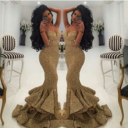 2018 New Designer Sparkly Gold Sequins Mermaid Prom Dresses Spaghetti Open Back Pleats Sweep Train Evening Gowns Formal Pageant Dress
