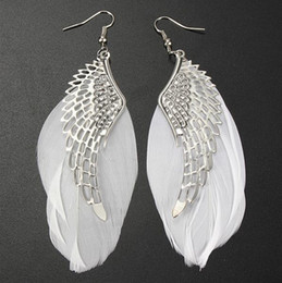 New Women Plume Earring Feather Dangle Earring Angle's Wing New Jewelry for Girl Wholesale Free Shipping