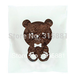 Wholesale White Bear Window Cellophane Bags Cute plastic poly bags for cookie gift packaging ideas x14cm