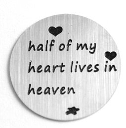 50pcs lot Stainless Steel Floating Locket Charms Half Of My Heart Lives In Heaven 22mm Floating Plates For Floating Locket