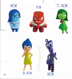 Retail Cartoon Animation 5pcs lot Inside Out toys 7.5cm-10cm PVC Figure Five Emotions Anger Joy Fear Disgust Sadness dolls