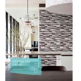 Wholesale Long strip Grey Color background Kitchen backsplash tiles for Bathroom wall tiles Glass Mosaic tile flooring tiles kitchenroom backsplash