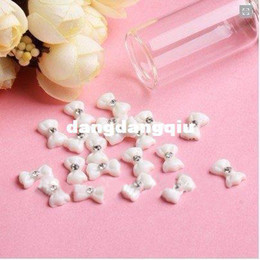 Wholesale-Xmas Free Shipping Wholesale  Nails Supplier, 100pcs 3D Resin White Bowtie DIY Acrylic UV Gel Polish Tool Nail Design  Nails Art