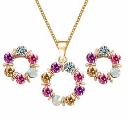 Flower Zircon Necklace Earrings Jewelry Sets Fashion Round Austria Crystal Women Wedding Jewelry Sets 42C51