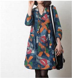 2956 # 2014 Autumn Fan art printing loose big yards ladies cotton denim dress