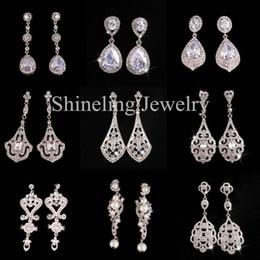 Wholesale Elegant Pouplar Wedding Earring Bridal Earring Vantage Rhinestone Crystal CZ Earring Art Deco Zircon Dangle Earring