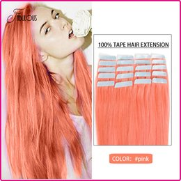 Hot Selling Tape Hair Extensions 20pcs Lot Pu Skin Weft Hair 16-24inches Brazilian Virgin Human Hair Straight Extension #Pink