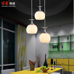 Wholesale Modern head white glass win led pendant light dining room lighting chandeliers bar lamp indoor lightings fixtures minimalist